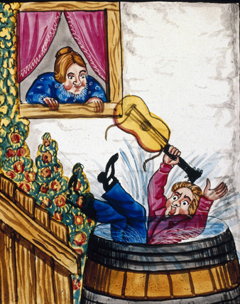 A suitor falling into a barrel of water, mid 19th century.