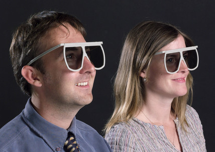 Man and woman wearing Imax 3D glases, 2003.