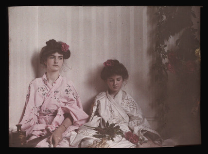 Two girls in Oriental costume, 1908.