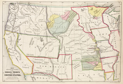 Map showing the location of the Indian Tribes within the United ...