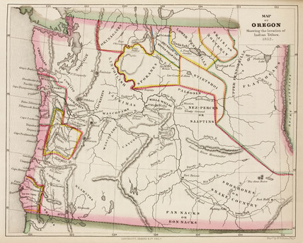 Map Of Oregon Showing The Location Of Indian Tribes Usa 1852 By