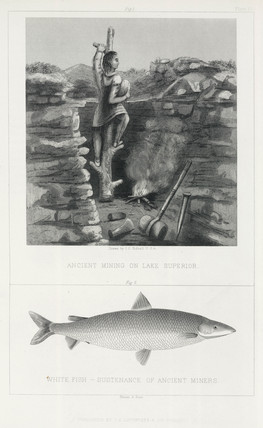 'Ancient Mining on Lake Superior', and White Fish, North America, 1855.