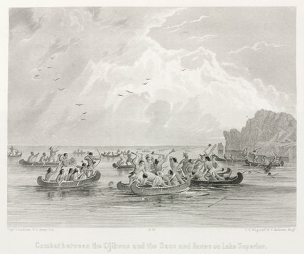 'Combat between the Ojibwas and the Sacs and Foxes, Lake Superior', 1847.