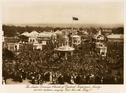 20,000 children sing 'God Save the King', Crystal Palace, Sydenham, c 1911.