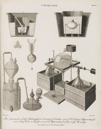 Three sets of chemical apparatus, 1801.
