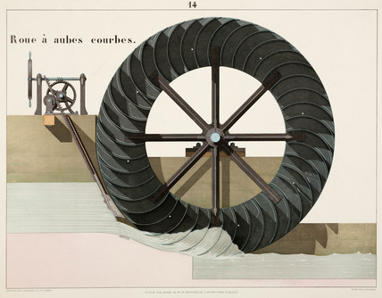 Waterwheel with curved blades, 1856.