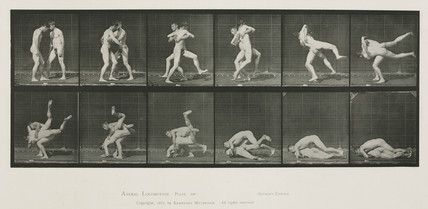 Time-lapse photographs of two men wrestling, 1872-1885.