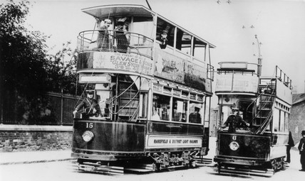 Mansfield & District Light Railways trams, Nottinghamshire, c 1920s.