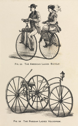'The American Ladies Bicycle' and 'The Parisian Ladies Velocipede', 1869.
