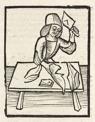 A butcher chopping meat with a clever, 1497.