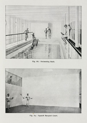 Swimming pool and squash court on the 'Olympic' White Star liner, c 1911.