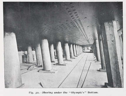 Pillars holding up the 'Olympic' ocean liner, c 1910.