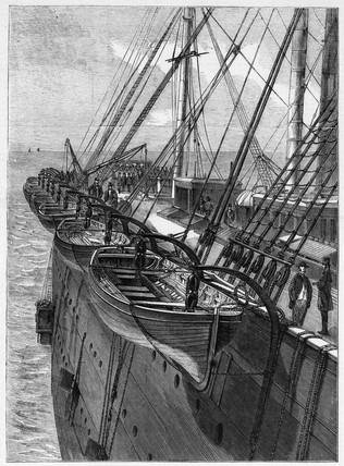 Lifeboats on Great Eastern steamship, c 1859.