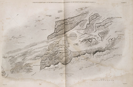 Map of the site of the Bell Rock Lighthouse, Scotland, c 1800.