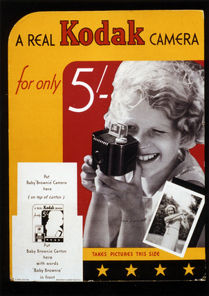 'A Real Kodak Camera for only 5/-', Kodak Brownie advertisement, c 1930s.