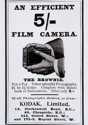 Advertisement for a Kodak 'Brownie' camera, c 1900.