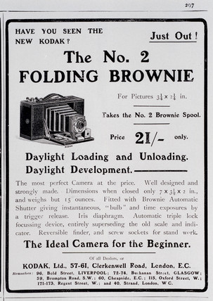 Advertisement for Kodak 'Brownie Folding No 2 Camera', 1904-1907.