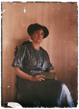 Autochrome portrait of a woman, c 1910.
