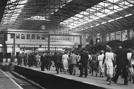 Passengers arriving at Liverpool Street station, London, 9.00 am, 29 June 1949.