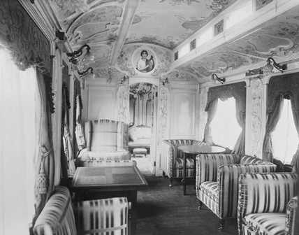 Saloon in the royal train, c 1908.