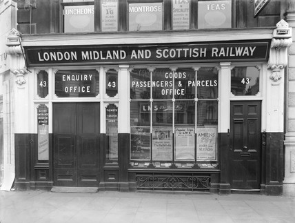 Railway office at 43 New Oxford Street, London, 1928.