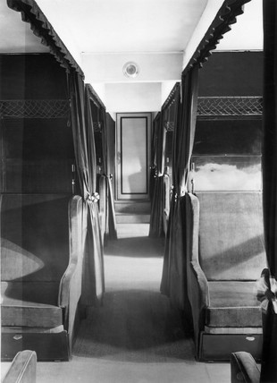 View through the pasenger cabin of the Zeppelin airship LZ 126, 1924.