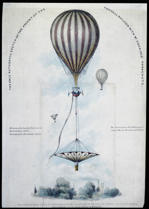 Mr Cocking's parachute descent from the 'Vauxhall' balloon, 24 July 1837.