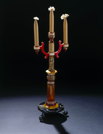Plastic candlesticks, probably French, c 1925.