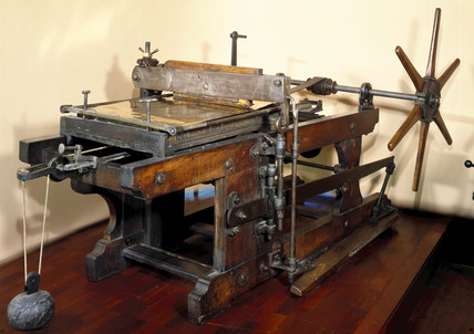 Lithographic printing pres, c 1860.