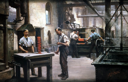 Foundry workers making springs, Sheffield, 1914-1918.