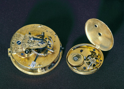 Chronometer watch and watch movement, c 1770s.