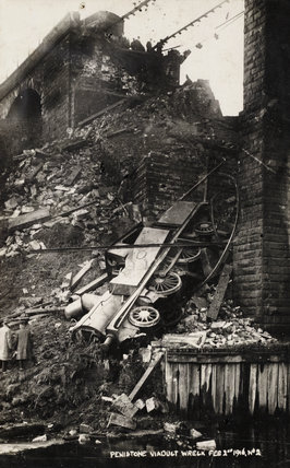 Railway accident at Penistone Viaduct, South Yorkshire, 1916.