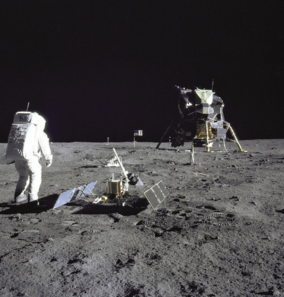 Buzz Aldrin looks back at Tranquility Base, 20 July 1969.