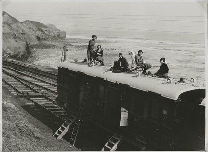 Women on holiday in a camping coach at Sandsend, c 1936.