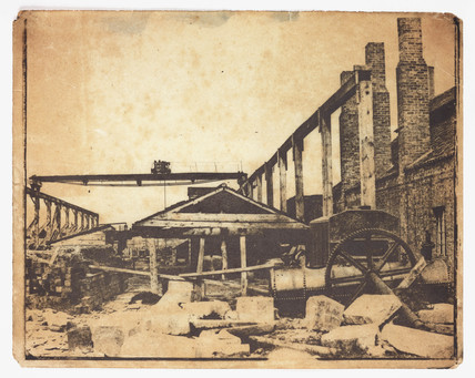 A construction site, c 1855.