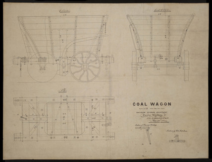 Engineering drawing of chaldron coal wagon built at Shildon, 1854.