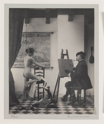 'The artist and his model', 1914.