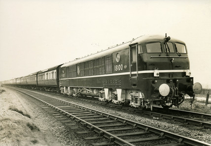 Locomotive fitted with a Metropolitan-Vickers jet engine, c 1950s.