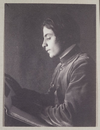 'Kahlil Gibran with Book (side view)', 1897.