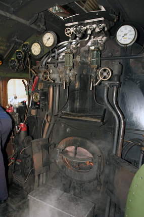 The footplate of the 'Flying Scotsman', 31 August 2004.