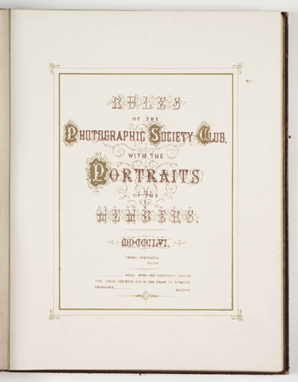 Title page of the 'Rules of the Photographic Society Club', 1856.