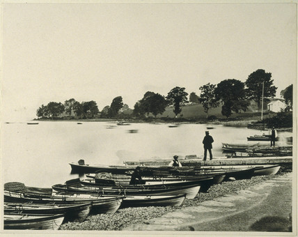 Boats on the shingle, 19th century.