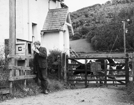 Telephoning the signal box, Llanrwst, North Wales, June 1968.