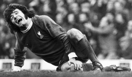 British footballer Kevin Keegan is injured during a match, January 1974.