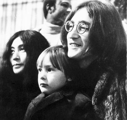 John Lennon, Yoko Ono, and John's son Julian, c 1969.