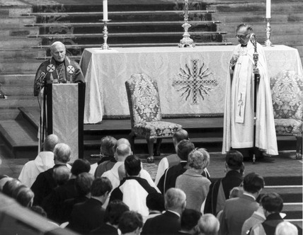 Pope John Paul II and the Archbishop of Canterbury, 1982.