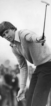 Nick Faldo, British golfer, 1977.