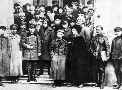 Stalin and Trotsky with fellow Bolsheviks, Russia, 1920s.