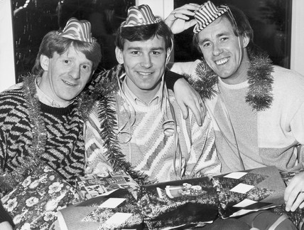 Gordon Strachan, Bryan Robson and Sammy McIlroy, c 1980s.