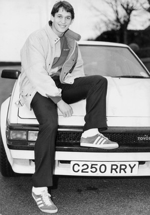 England striker Gary Lineker with his Toyota, December 1985.